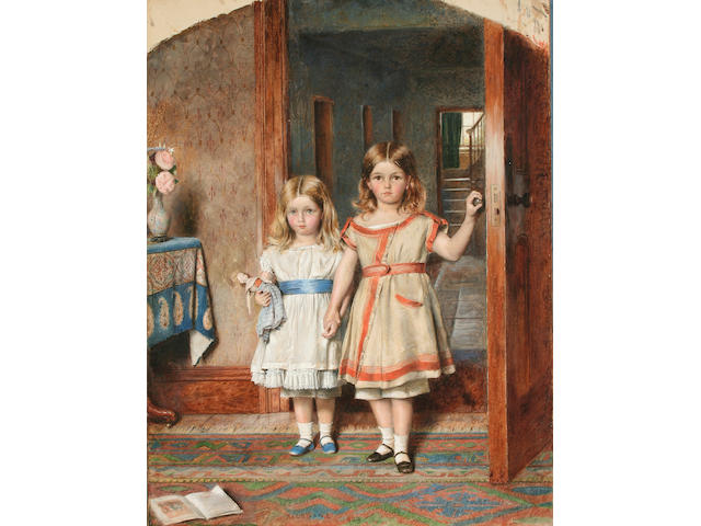 George Goodwin Kilburne (1839 - 1924) Two sisters, 63.5 x 48cm, arcaded top, unframed.