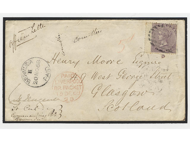 "Bermuda: 1865-1903 6d. wing margined example used on 1868 Officers letter to Scotland, tied by numeral ""1"" type K1 with black ""BERMUDA/PAID"" c.d.s. and Liverpool British Packet c.d.s. (251)"