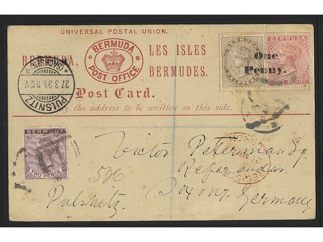 "Bermuda: Postal Stationery: 1893 ½d. and 1d. surcharged ""One/Penny"" setting A, fine used to Germany with additional 2d. for registered post, rare, also 1893 1d. on ½d. postcard from the same correspondence. (321)"