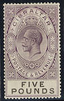 Gibraltar: 1925-32 Script £5 violet and black, fresh very lightly mounted mint, small surface rub, otherwise fine. S.G.£1300. (564)