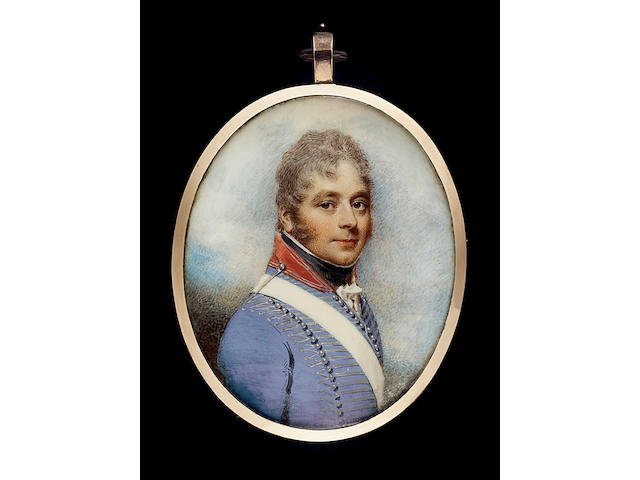 William Wood, Major Henry Davis (b.1763), wearing uniform of Light Dragoons, his French Grey coatee with red collar outlined with silver lace, silver lace cord epaulette, silver lace shoulder cord retaining the white leather shoulder belt