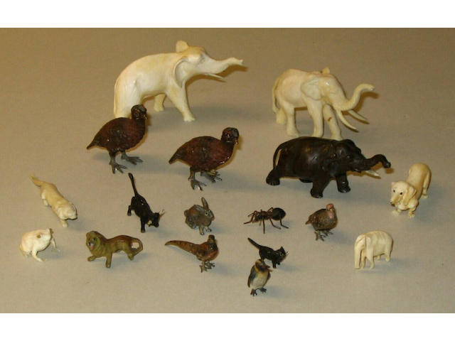 A group of Austrian cold painted metal miniature animal models
