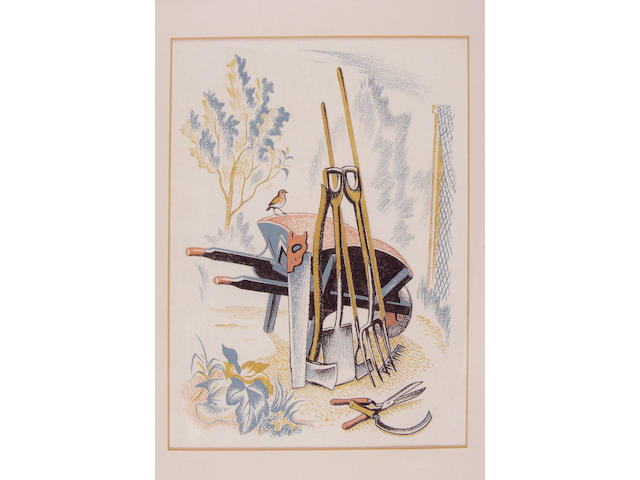 WEBB (CLIFFORD) Gardening tools and a wheelbarrow, illustration, pastel and gouache, by Clifford Webb, unsigned