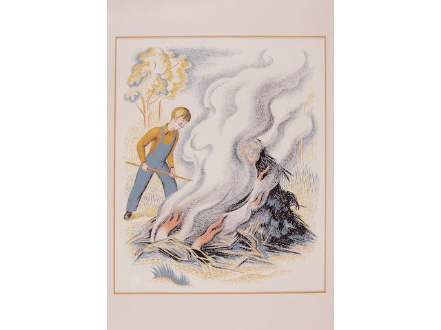 WEBB (CLIFFORD) Boy stoking bonfire, pastel and gouache, by Clifford Webb, unsigned