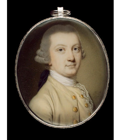 John Smart, Joseph Reinagle, wearing cream coat with gold buttons, matching waistcoat, white lace cravat and powdered wig worn en queue