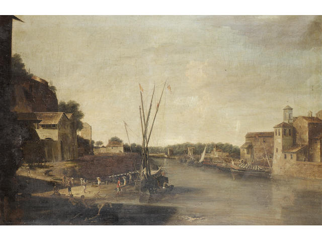 Filippo d'Angeli, called Filippo Napoletano (born Naples or Rome 1587) A river landscape with stevedores unloading a barge 86.7 x 131.8 cm. (34 1/8 x 51 7/8 in.)