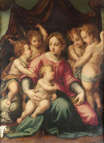 Circle of Michele Tosini, called Ghirlandaio (Florence 1503-1577) The Madonna and Child with the Inf