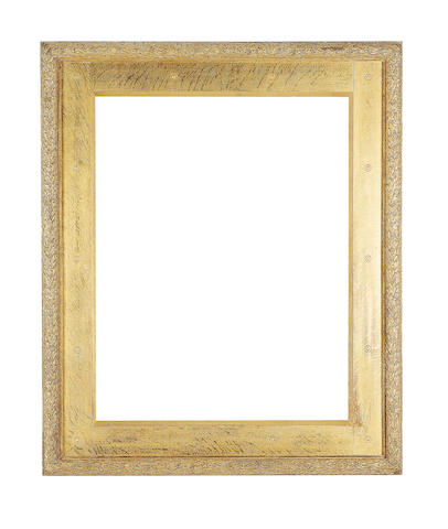 An English late 19th Century gilded oak and composition Pre-Raphaelite frame