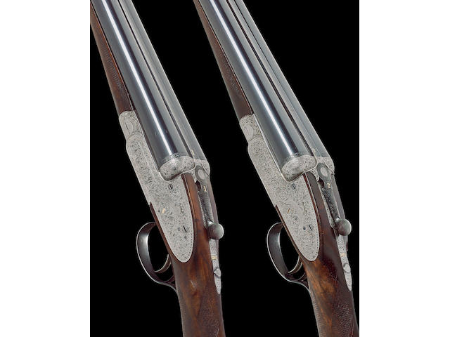 A pair of 12-bore self-opening sidelock ejector guns by J. Purdey, no. 16582/3 In their brass-mounted oak and leather case