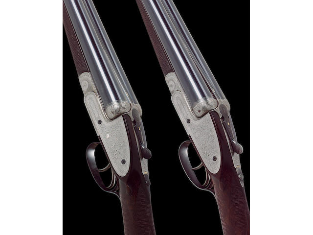 A fine pair of 12-bore sidelock ejector guns by G. Gibbs, no. 20260/1 In their leather case