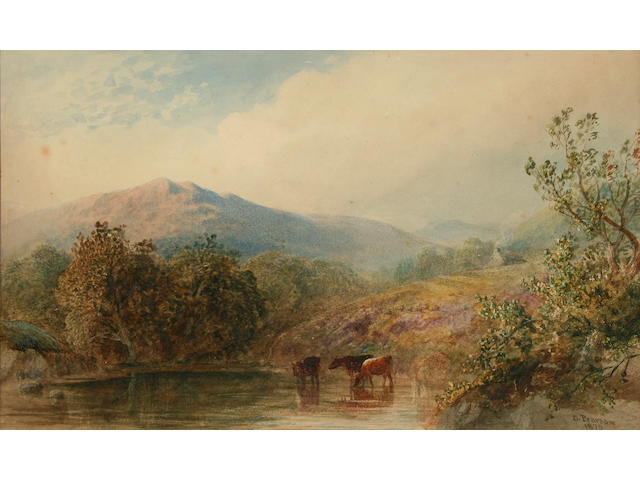 Cornelius Pearson Lake landscape with cattle watering, 23.5 x 39.5cm.