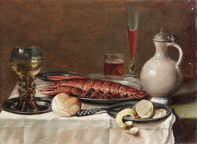 Attributed to Pieter Claesz. (Burgsteinfurt 1597-1660 Haarlem) A roemer of white wine on a silver pl
