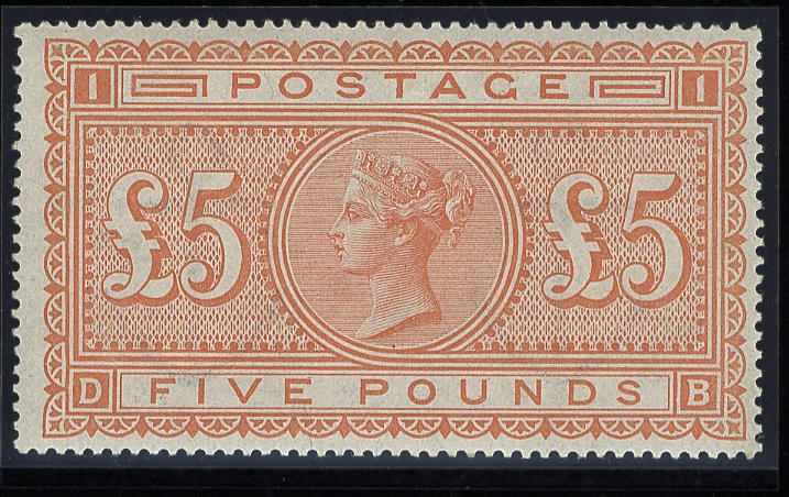 1882-83 wmk. Anchor: £5 orange DB, imperceptibly mounted (possibly unmounted), very fine and fresh colour.  (40)
