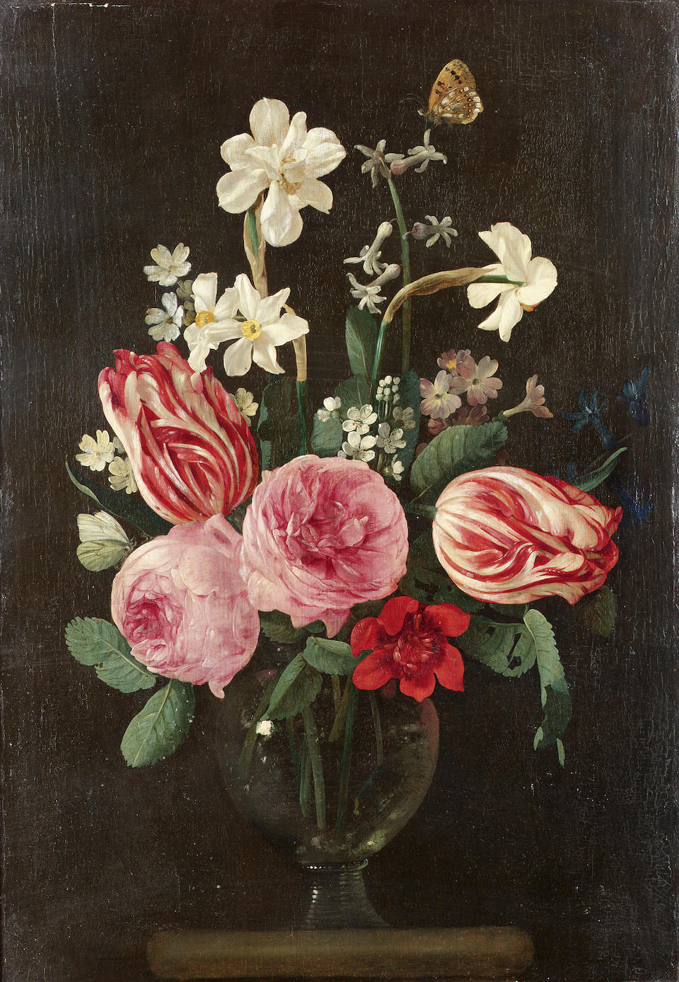 Jan Phillips van Thielen (Malines 1618-1667 Boisschot) Roses, narcissi, tulips and other flowers 42 x 30 cm. (16½ x 11¾ in.)