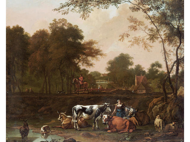 Circle of Jan Kamphuys A milkmaid with cattle beside a stream, 40.1 x 48.6cm (15¾ x 19 1/8in)