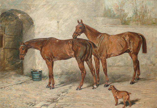 John Emms (British, 1843-1912) 'Australia', 'Barney' and 'Doctor'in a stable yard, 73 x 104.7 cm (28 3/4 x 41 1/8 in)