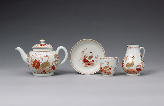 A fine Chaffers teapot and cover, a matching coffee cup and a Chinese prototype saucer circa 1758-60