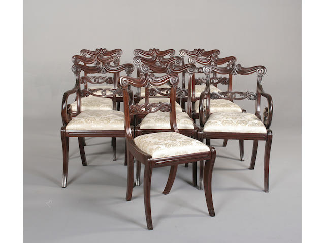 A set of ten Regency style mahogany dining chairs