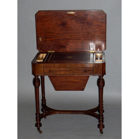 An early Victorian mahogany lady's writing/work table,