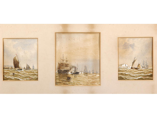 C.H. Lewis (19th/20th Century) Boats at sea 18.5 x 16cm (7¼ x 6¼in), together with five others by the same hand, framed in two frames.
