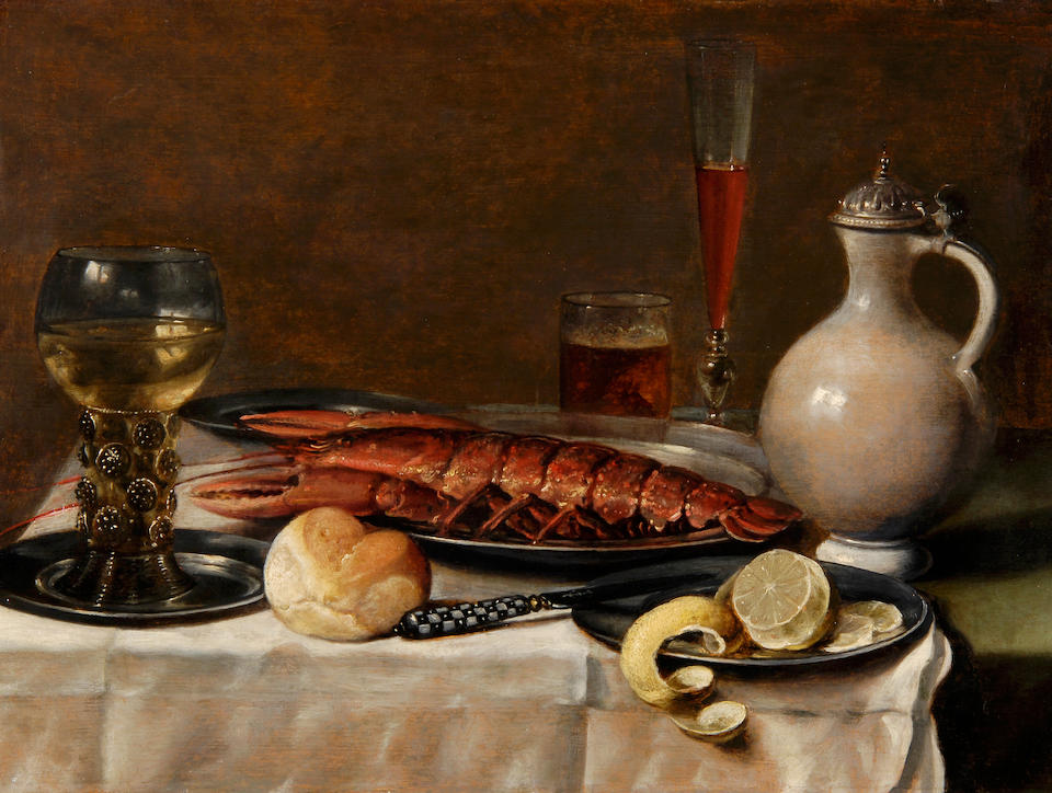 Attributed to Pieter Claesz. (Burgsteinfurt 1597-1660 Haarlem) A roemer of white wine on a silver plate, a bread roll, a lobster on a silver dish, a knife and peeled lemon on a silver plate, a glass of beer, a façon de venise goblet of red wine and a silver-mounted white earthenware jug on a table draped with a white cloth 50.5 x 69 cm. (19¾ x 27¼ in.)