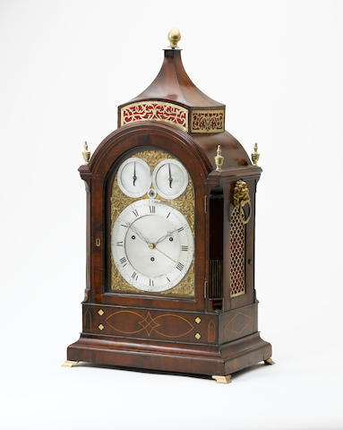 AN EARLY 19TH CENTURY BRASS MOUNTED MUSICAL BRACKET CLOCK WITH SELECTION FOR EITHER 'FORTE' OR 'PIANO' SOUND TO THE 14 HAMMERS AND BELLS ALSO 'TING TANG' CHIMING THE QUARTERS ON A FURTHER TWO BELLS Gravell & Tolkein No.3266