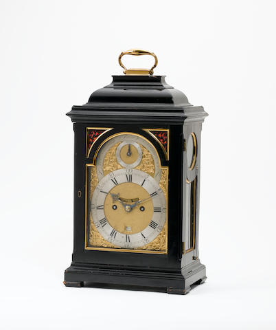 A good mid 18th century ebonised and gilt brass mounted quarter repeating bracket clock Thomas Smith