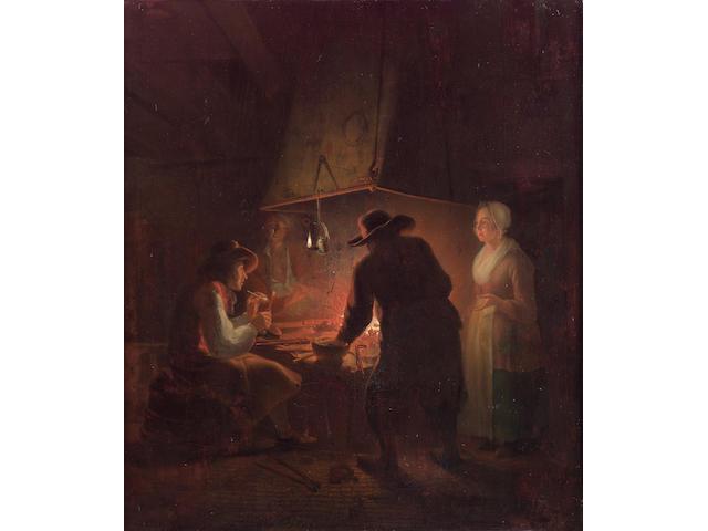 Michiel Versteeg (Dordrecht 1756-1843) The ironmonger's forge 40 x 34.3 cm. (15¾ x 13½ in.)