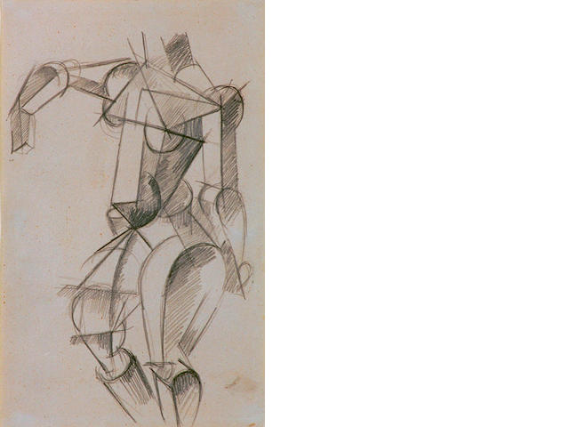 Liubov Sergeyevna Popova (1889-1924 Russian) 'Cubist female figure studies' 20 x 13cm (8 x 5in)