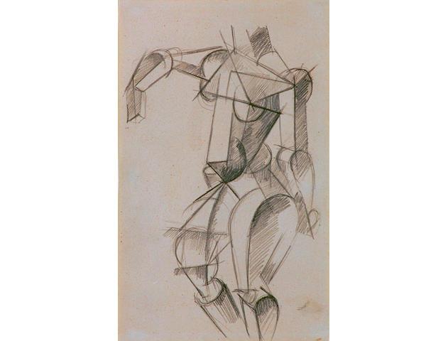Liubov Sergeyevna Popova (1889-1924 Russian) 'Cubist female figure studies' 20 x 13cm (8 x 5in)