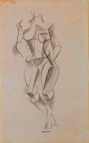 Liubov Sergeyevna Popova  (1889-1924 Russian) 'Cubist female figure study' 20 x 13cm (8 x 5in)