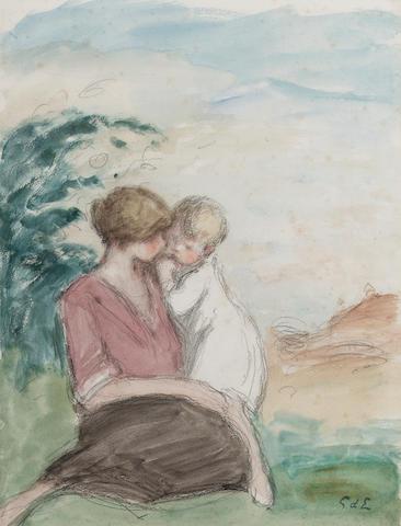 Georges d' Espagnat (1870 - 1950) Femme et enfant 32.3 x 24.9 cm. (12 3/4 x 9 3/4 in.)
