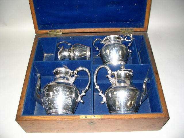 A Victorian Neo-classical four piece tea service, D & J, Birmingham 1861,