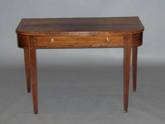 A Regency Scottish mahogany crossbanded D-shaped side table,