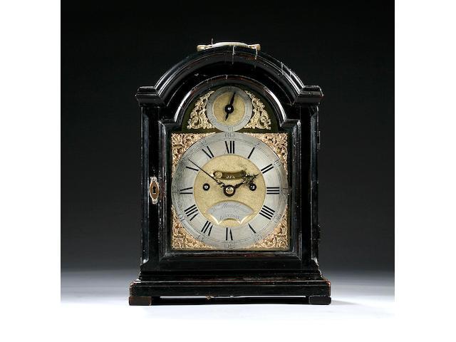 An ebonised bracket clock, John Monkhouse, London, circa 1770,