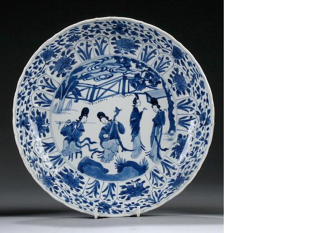A blue and white dish Chenghua six character mark, Kangxi