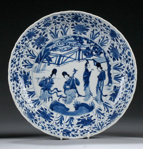 A blue and white dish Chenghua six character mark, Kangxi