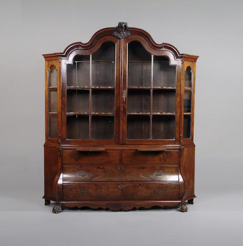An early 19th century Dutch walnut display cabinet