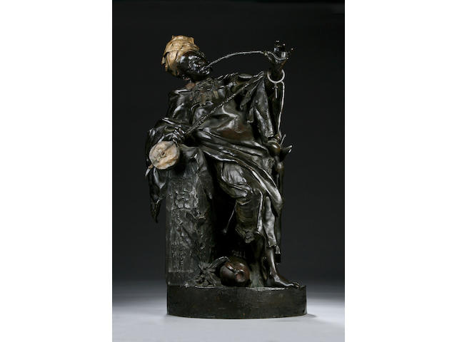 A large late 19th Century patinated bronze Orientalist figure, indistinctly signed A-Girasser (?),