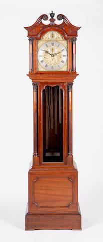 A late 19th century walnut chiming longcase clock J W Benson, London,