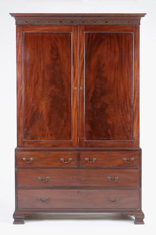 A George III mahogany linen press