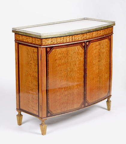 A George III style satinwood, rosewood and giltwood side cabinet