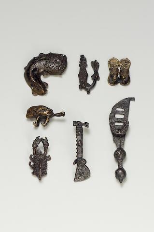Ashanti gold weights, bangles, mask and figure