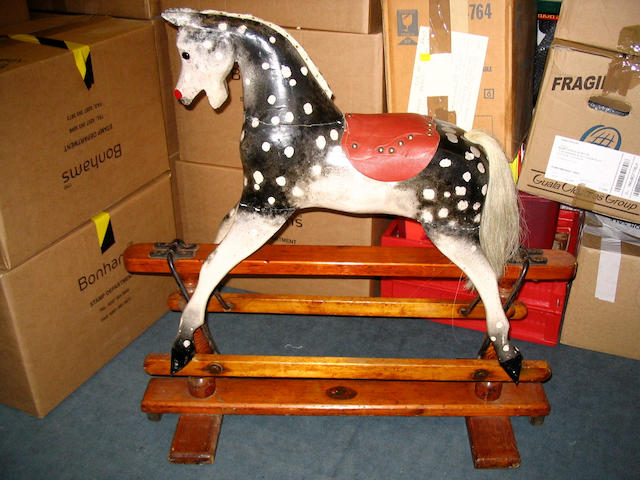 Painted carved wooden Rocking horse, English 1920's