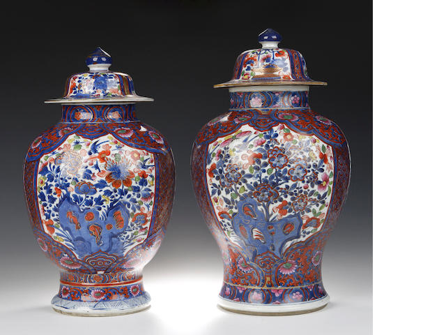 A matched pair of blue and white vases and covers, Chinese, 18th century,