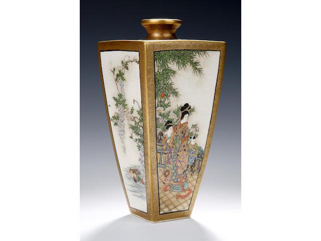 A Satsuma vase by Kinkozan, Meiji,