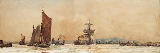 Charles Edward Dixon (British, 1872-1934) 'Below Gravesend' 26.3 x 76.2cm. (10 3/8 x 30in.)