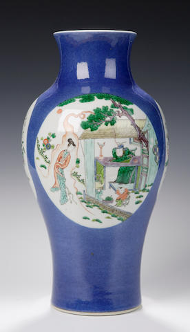 A famille verte vase, Chinese, six character Xuande mark but 18th century,