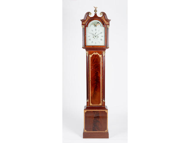An early 19th century mahogany and satinwood banded longcase clock Robert Wilkie, Cupar,