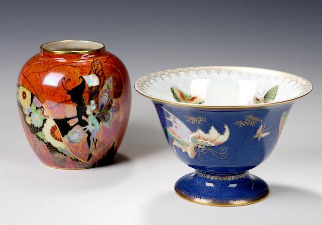 A Carlton Ware 'Fairy' pattern lustre jar,